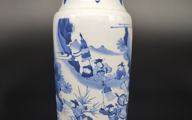Vase - Blue and white - Porcelain - Warrior - China - Late 20th century