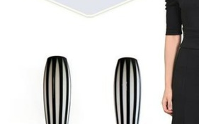 Very Large Pair of Bohemian Overlay Vases
