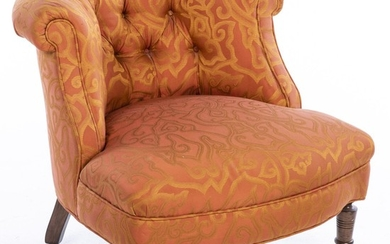 Victorian Style Tufted Low Chair EV1DJ