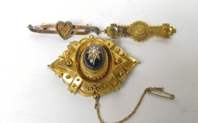 Victorian gold brooch with pearl set garnet and two others '...