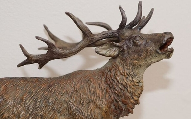 Vienna Foundry - Elk figurine (1) - Bronze (cold painted) - Early 20th century