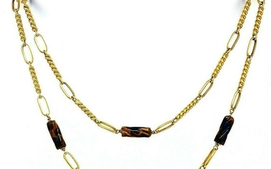 Vintage FRENCH Twisted Tiger Eye 18K Yellow Gold Chain