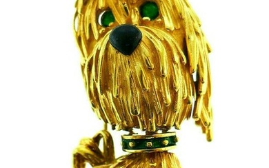 Vintage French 18k Yellow Gold Enamel Dog Brooch