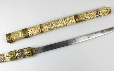 Wakizashi with bone handle and scabbard, Japan 19th/20th century, iron blade with traces of corrosion, l: 39 cm, brass fittings, end of the handle and tip of the scabbard missing, leg with figural carvings, total length: ca. 60 cm, small dam., strong...