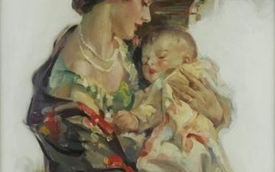 """Walter Seaton """"Mother and Child"""" Oil on Canvas"""