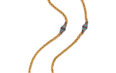 YELLOW GOLD, SILVER AND GLASS NECKLACE