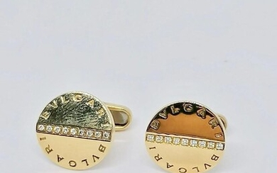 Yellow gold cufflinks Signed Bulgari