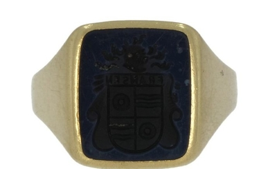 Zegel - 14 kt. Gold - Ring Layer stone - Family coat of arms