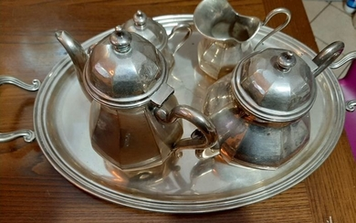 milk coffee tea service (5) - .800 silver - Italy - First half 19th century
