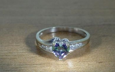 10 Karat White Gold Heart Shaped Mystic Topaz Ring