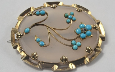 15ct Oval opaline brooch decorated with floral motif set wit...