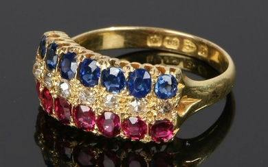 18 carat gold sapphire diamond and ruby ring, with