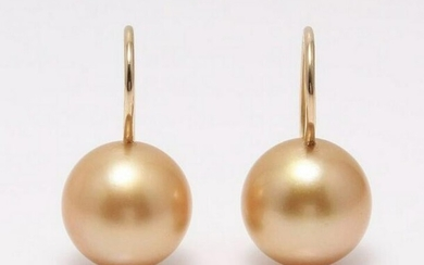 18 kt. Yellow Gold - 10x11mm Golden South Sea Pearls