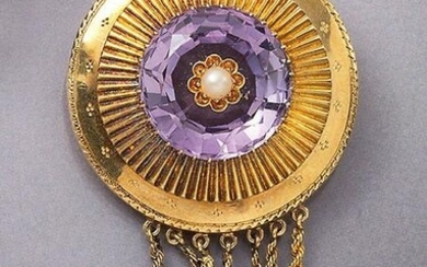 18 kt gold brooch with amethyst and pearls