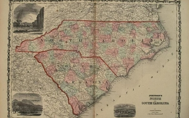 1862 Johnson Map of North and South Carolina --