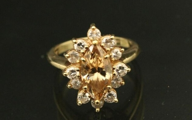 18K YG MARQUIS SHAPED CANARY DIAMOND LADY'S RING;