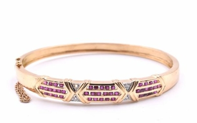18k Yellow Gold Ruby and Diamond Bangle Bracelet