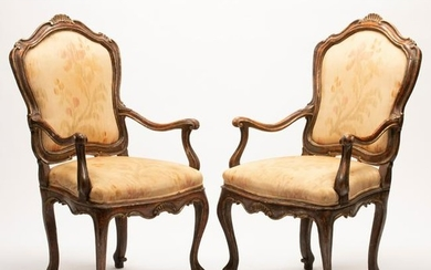 18th Century Venetian Upholstered Armchair Pair.
