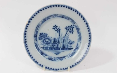 18th century blue and white tin glazed plate