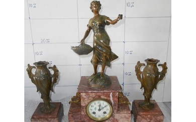 1920's French '1er Bouquet' Marble Statue Clock Horloge Pend...