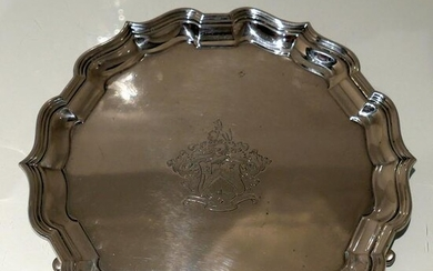 19th Century Antique Victorian Sterling Silver Salver