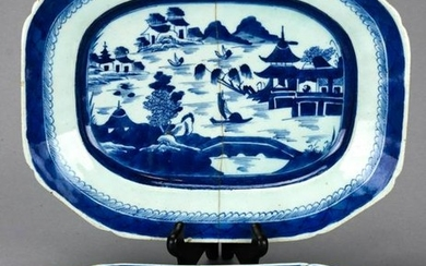 2 Chinese Blue & White Canton Porcelain Platters