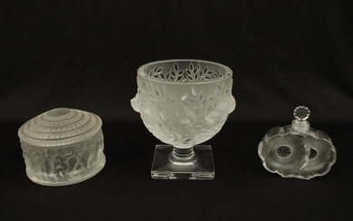 3 PC. MISC. LOT OF SIGNED FRENCH LALIQUE CRYSTAL