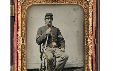 Sixth Plate Ambrotype of a Union Cavalry Trooper Armed