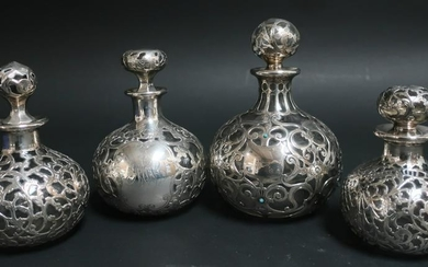4 Sterling Silver Overlay Clear Glass Perfumes