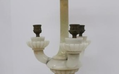 5 Light Marble Columnar and Curved Arm Table Lamp