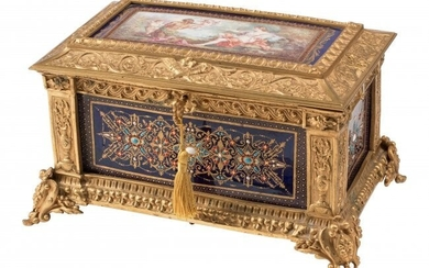 61030: A French Gilt Bronze Mounted Porcelain Box, 19th