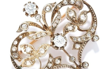 ANTIQUE DIAMOND BROOCH in high carat yellow gold, in