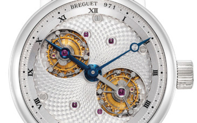 """Breguet, Ref. 5347 A very fine and attractive platinum oversized wristwatch with double rotating tourbillon escapement and """"guilloche"""" dial"""
