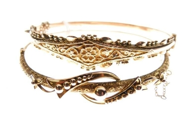 9ct gold snap bangle, together with another yellow metal...