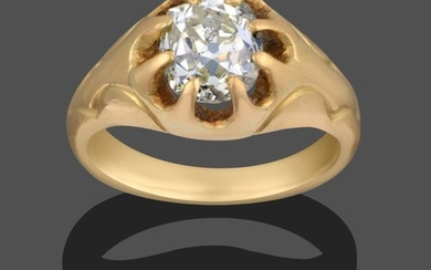 A 14 Carat Gold Gentleman's Diamond Solitaire Ring, the old...