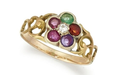 A 19TH CENTURY 'REGARD' CLUSTER RING, comprising a