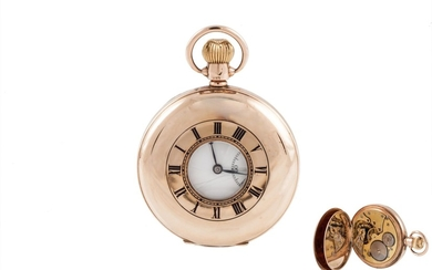 A 9CT GOLD HUNTER POCKET WATCH, Chester 1932, 2''/10 cm, 93 ...