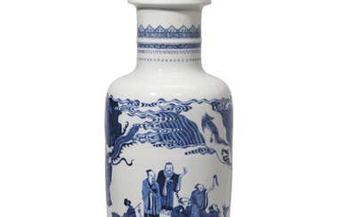 A BLUE AND WHITE 'FIGURAL' ROULEAU VASE, KANGXI PERIOD (1662-1722)