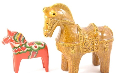 A Bitossi Aldo Londi Tang style horse in mustard glaze, and a Nuils Olsson painted horse