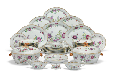 A CHINESE FAMILLE ROSE PART-DINNER SERVICE, QIANLONG PERIOD (1736-1795)