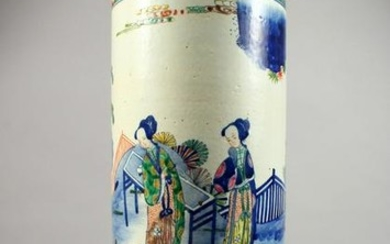 A CHINESE POTTERY STICK STAND, painted with figures in