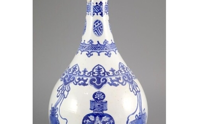 A Chinese blue and white pear-shaped vase, Kangxi period, pa...