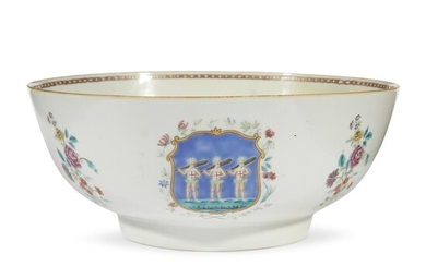 A Chinese export famille rose porcelain punch bowl third...