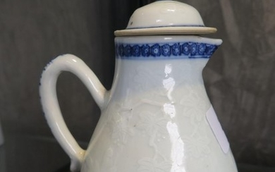 A Chinese sparrow beak jug and cover, with underglaze blue r...