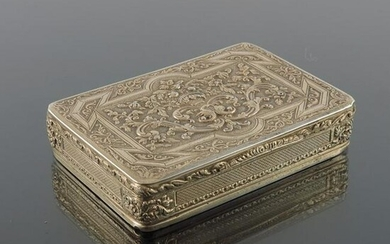 A French silver gilt box, cast and chased with foliate