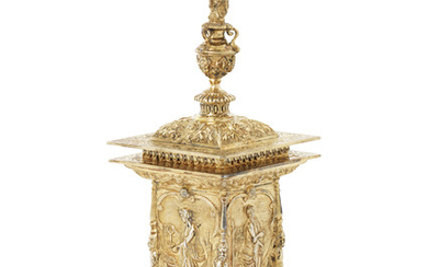 A GEORGE IV SILVER-GILT SMALL REPRODUCTION OF THE VINTNERS' COMPANY STANDING SALT, MARK OF WAKELY & WHEELER, LONDON, 1911