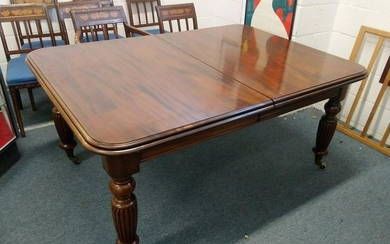A GOOD VICTORIAN STYLE MAHOGANY EXTENDING DINING TABLE,