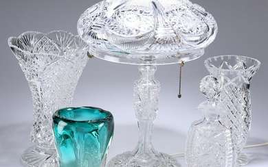 A GROUP OF GLASS, comprising a cut-glass mushroom lamp