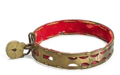 A George III engraved brass dog collar, late 18th/early 19th century