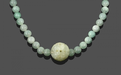 A Jade Necklace, sixty-six spherical jade beads with a larger...